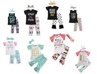 Wholesale childrens clothes online - Girls Childrens Clothing Summer Short Sleeve tshirts Pants Headwear Piece Set Letters Arrow Bohemia Kids Clothes Suits Boutique Clothing