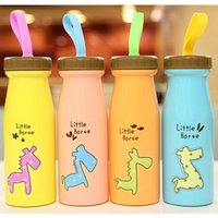 Wholesale Personalized Kids Cups - Wholesale- 1pcs Cartoon Water bottles Creative Stainless Steel Child Cup Personalized Portable Juice Cups for Kid B5