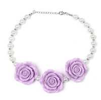 Wholesale Diy Rose Accessories - Fashion Xmas Girls Chunky Necklaces Bubblegum Necklace Kids Rose Necklace DIY Children Jewelry Accessories for Party Gifts