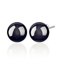 Wholesale Obsidian Earrings - Luxurious Natural Obsidian Stud Earrings Fashion S925 Sterling Silver Earrings Women Beads Drop Earrings