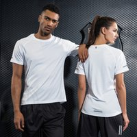 Wholesale Wholesale Fitness Clothing Women - Gym Clothing Bodybuilding Fitness Men Women Running T Shirt Quick-Dry Breathable Training Sport Reflective T-Shirt O Neck