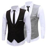 tuxedo kleid weste großhandel-Großhandelsmänner der klassischen formalen Geschäfts Slim Fit Kettenkleid Weste Anzug Smoking Weste