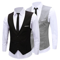 Wholesale Tuxedos Suits Wholesale - Wholesale- Men's Classic Formal Business Slim Fit Chain Dress Vest Suit Tuxedo Waistcoat