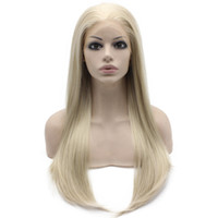 """Wholesale Ash Blonde Lace Wig - 24"""" Long Ash Blonde Silky Straight Half Hand Tied Heat Resistant Synthetic Fiber Lace Front Fashion Wig S02"""