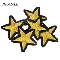 Wholesale Cartoon Motifs - Hoomall Brand 20PCs Gold Star Embroidered Iron On Badges Patches For Clothing Cartoon Motif Applique Sticker For Clothes