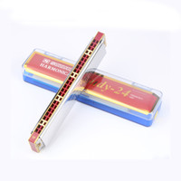 Wholesale Toy Organs - wholesale Suzuk 24 Holes Harmonica C Tone Tremolo Mouth Organ Wind Musical Instruments Toy Beginners Kid Gifts Instrumentos musicais harp