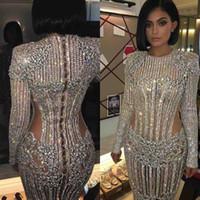 vestidos de gala azul venda por atacado-Feito Sob Encomenda Kendall Jenner Kylie Jenner Conhecido Gala 2019 Red Carpet Moda Celebrity Dresses Cutaway Ilusão Frisado Vestidos de Noite