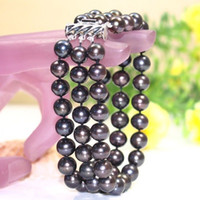 ingrosso bello braccialetto nero perla-NEW BEAUTIFUL 3 ROW 9-8 MM natural Tahaitian black Pearl bracelet 7.5-8 '' 14k