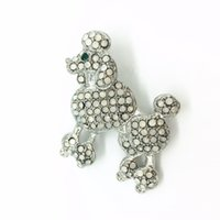 Wholesale poodle jewelry - Wholesale- New Fashion Jewelry Animal Metal Poodle Dog Rhinestone Brooches For Women Girl Pin Brooch Cute Carf