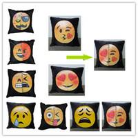 Wholesale Decorative Sofa Cushion - Reversible Sequin emoji Pillow Case cover Cushion Emoji Smiley Face Pillow Magical Double Sequins Pillow cases Decorative Sofa Décor
