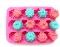 çiçek jöle şekeri toptan satış-Valentine 'Fabrika Çiçek Şekli Muffin Durumda Şeker Jöle Buz Kek Silikon Kalıp Kalıp Pişirme Pan Tepsi 21.4 * 16 * 2.5 CM Silikon