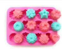 moldes de pastel de silicona en forma de flor al por mayor-Valentine 'Factory Flower Shape Muffin Case Candy Jelly Ice Cake Molde de silicona Molde Bandeja para hornear Molde 21.4 * 16 * 2.5CM Silicona