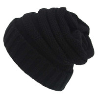 Wholesale Kint Cap - 2017 New Solid Colors Warm Hedging Cap Female Winter Hats for Women Men Outdoor Warm Ear Hat Kint Wool Fold Elastic Cap Bonnets
