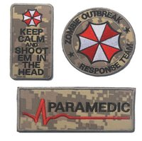 Wholesale Cp Camouflage - 3pcs Embroidery Umbrella Patch 3D Tactical Zombie Outbreak Patches Hook And Loops Morale Armband ACU CP Combat Paramedic Badge
