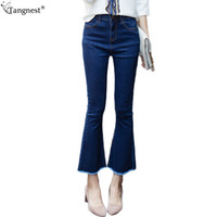 Wholesale Denim Jeans Pant Women - TANGNEST Raw Edge Tassel Ankle Length Flared Jeans 2017 Fashion Woman Skinny Bugle Pants Bell-bottom Denim Trousers Plus WKN477