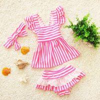 Wholesale Cute Sexy Bikini Girl - Baby swim suits Stripe Sexy Bikini Sets + Butterfly Headband Girls Bathing Suits Striped Cute 3pcs Swimwear sets C724