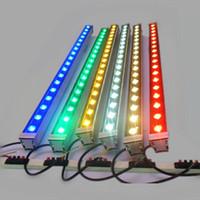 lámparas de bar al aire libre al por mayor-La iluminación al aire libre llevó la luz de inundación 12W 18W LED lámpara de la pared que manchaba la barra de luz ligera AC85-265V RGB para muchos colores