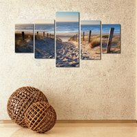 Wholesale Oil Painting 5pcs - 5pcs Oil Painting Set Wall Art Canvas Prints Posters Beach Landscape Modern Printing Pictures for Living Room Home Decoration