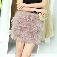Solid ostrich feather mini skirt - Autumn winter new women s personality luxury ostrich fur feather natural fur short mini skirt party club sexy elastic waist skirt SM