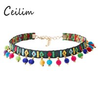 New Design Bohemian Ethnic 7colors Hair Balls Choker Colar para Mulheres Lady Colorful Embroidery Statement Chokers Fashion Jewelry Gift 2017