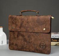 Wholesale File Slots - Factory sales brand mens bag retro fashion Crazy Horse Leather Mens handbag slim file briefcase fashion casual leather handb