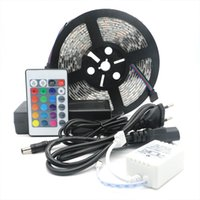 Wholesale Led Power Cans - 25M 5m roll Led Strip Light RGB 5050 SMD Flexible Waterproof + 24Key Remote+5A Power Supply Outdoor strip can use directly