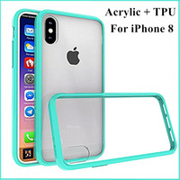 Wholesale Iphone Case Bumper Soft - For iPhone X 8 7 6 6S Plus Samsung Galaxy Note8 S7 Edge Case Clear Hybrid Back with Soft TPU Bumper Shockproof Case