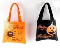 ingrosso sacchetti di caramella di partito arancione-Feltro Dolcetto o scherzetto Borsa Halloween Zucca Spider Riutilizzabile Candy Carry Tote Pasqua bambini bomboniere nero arancio