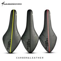 Wholesale Fiber Grains - LEADNOVO leather carbon saddle cross grain white black red yellow full Carbon Fiber Bicycle Bike Seat light mtb folding bike cushion