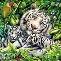 Wholesale Canvas Paste - DIY Diamond Painting Embroidery Tiger Family Needlework Cross Stitch Pasted Full Christmas Decoration New Year Gift A1822
