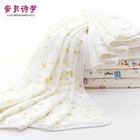 Wholesale Double Gauze Fabric - European Design 100% cotton baby quilt 90* 120cm double layes cotton gauze and looped fabric big bath towel baby blanket flowers cartoons
