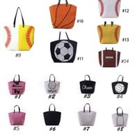 Wholesale Wholesale White Cotton Tote Bags - 4pcs USA black & white &yellow Blanks Cotton Softball Tote Bags Baseball Bag Football Bags Soccer ball Bag with Hasps Closure Sports Bag