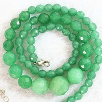 """Wholesale Emerald Round Faceted Beads - Genuine Green 6-14mm Faceted Natural Emerald Round Beads Necklace 18""""AAA Free Shipping"""