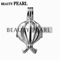 5 Pieces Double Dolphin Pearl Cage Pendentif Charm Locket Love Wishing Pearl Cadeaux 925 Sterling Silver
