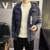 Wholesale New Korean Down Jacket - Wholesale- 2016 new winter fashion trend of men's casual jacket Korean comfort letter hooded all-match simple solid color jacket coat M-5XL