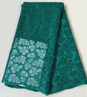 Wholesale Teal Cotton Cord - Teal green African cord lace fabric African guipure lace fabric 5 yards high quality