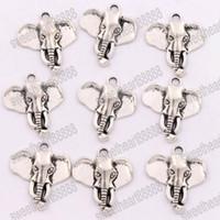 Wholesale Elephant Charms Silver Plated - 100pcs lot 22x25.8 mm Antique Silver Elephant Head Charms Pendants Fashion Jewelry DIY Fit Bracelets Necklace Earrings L1184