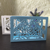 Wholesale Beautiful Craft Rooms - Wholesale- Creative gift iron metal beautiful art craft blue pink white flower napkin paper holder tissue block rack home hotel table decor
