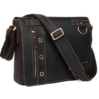 "Wholesale 13 Laptop Shoulder Leather Bag - Wholesale-TIDING Genuine Leather Messenger Shoulder Bags Briefcase Mens casual style 13"" laptop bag 1006"