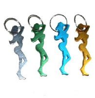 Wholesale Keychain Favors For Men - Multi Color Aluminum Beautiful Woman Bottle Opener With Keychain For Wedding Favors Best Gift 20pcs lot Free Shipping