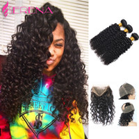 Kinky Curly With Closure Fermeture ondulée Cheveux humains Cheveux péruviens avec Bundle Deep Loose Body Wave 360 ​​Lace Frontal With Bundle Curly
