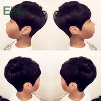 beste glueless spitzeperücken großhandel-Pixie Cut kurze Echthaarspitzeperücken glueless Lace Front 100 Echthaarperücken für Afroamerikaner Beste brasilianische Haarperücken