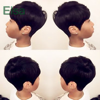 african american glueless perücken großhandel-Pixie Cut kurze Echthaarspitzeperücken glueless Lace Front 100 Echthaarperücken für Afroamerikaner Beste brasilianische Haarperücken