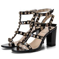 Wholesale Gladiator Sandal Buckles Rivets - The New Summer Coarse Fish Mouth High Heel Rivets Sandals