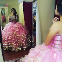 Wholesale Ruffled Debutante Gowns - Pink gold edge Sweet 16 Quinceanera Dresses Sweetheart Ruffle Train Corset Back Beading Vestidos De 15 Anos Debutante Gowns Plus Size 2017