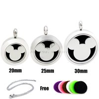 Wholesale Mouse Pendants - Round Silver Micky Mouse (20-30mm) Aromatherapy   Essential Oils Stainless Steel Perfume Diffuser Locket Necklace with Free Chains