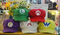 Wholesale super mario cosplay hat - Super Mario Bros Anime Cosplay Red Cap Tag Super cotton hat Super mario hats Luigi hat 5 colors Free shipping E880