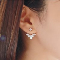 Wholesale Pair Crystal Stud Earrings - 1 Pair Fashion Earing Big Crystal Rose Gold Silver Ear Jackets Jewelry High Quality Leaf Ear Clips Stud Earrings Fsor Women