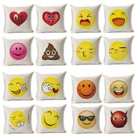 Wholesale Yarn For Sale Wholesale - Expression Emoji Pillow Case Flax Digital Printing Cushion Covers Creative Bolster Comfortable For Men Women Festival Gift Hot Sale 5py R