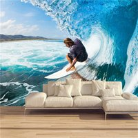 Wallpaper personalizzato 3D Stereoscopic Wallpaper Surf Roll Waves Moderno Sport Tema Murale Ristorante Bar KTV Divano Camera Backdrop